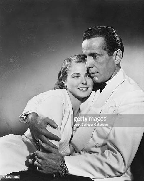Richard 'Rick' Blaine holds a smiling Ilsa Lund Laszlo in the classic love story Casablanca