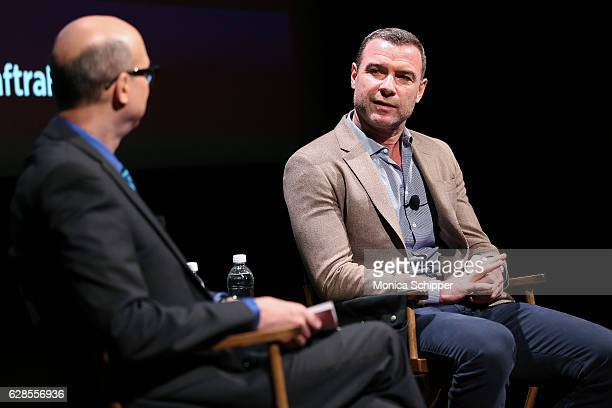 Richard Ridge and actor Liev Schreiber speak on stage at the SAG AFTRA Foundation And BroadwayWorldcom Conversations On Broadway Richard Ridge Liev...