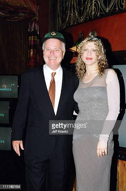 Richard Riordan and Courtney Love during 1998 MTV VMA Press Conference at La Boheme in Los Angeles California United States