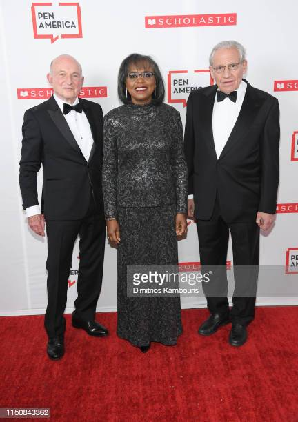 Richard Robinson, Dr Anita Hill and Bob Woodward attend the 2019 PEN America Literary Gala at American Museum of Natural History on May 21, 2019 in...
