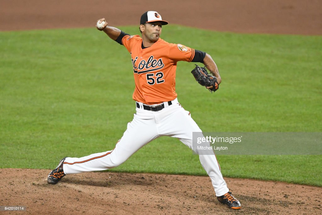 Richard Rodriguez #52 of the Baltimore Orioles pitches in his major league debut in the seventh inning during a baseball game against the Toronto Blue Jays at Oriole Park at Camden Yards on September 2, 2017 in Baltimore, Maryland.