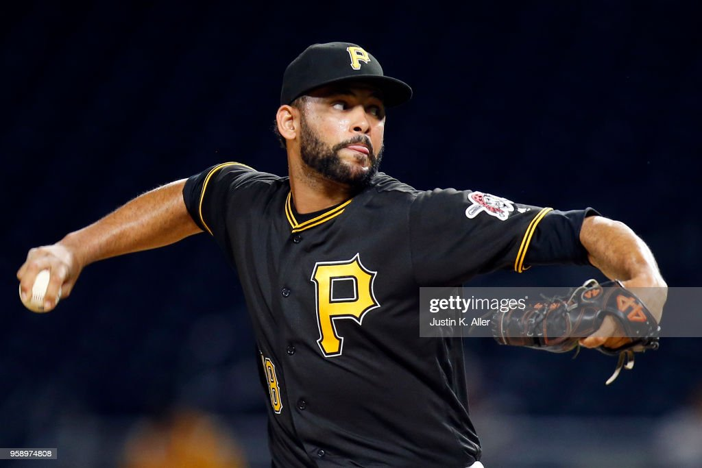 Richard Rodriguez #48 of the Pittsburgh Pirates pitches in the ninth inning against the Chicago White Sox during inter-league play at PNC Park on May 15, 2018 in Pittsburgh, Pennsylvania.