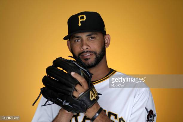 Richard Rodriguez of the Pittsburgh Pirates poses for a photo during photo days at LECOM Park on February 21 2018 in Bradenton Florida
