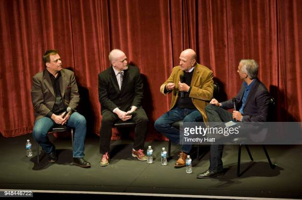 Richard Roeper Matt Zoller Seitz Andy Davis and Scott Mantz attend the Roger Ebert Film Festival at Virginia Theatre on April 18 2018 in Champaign...