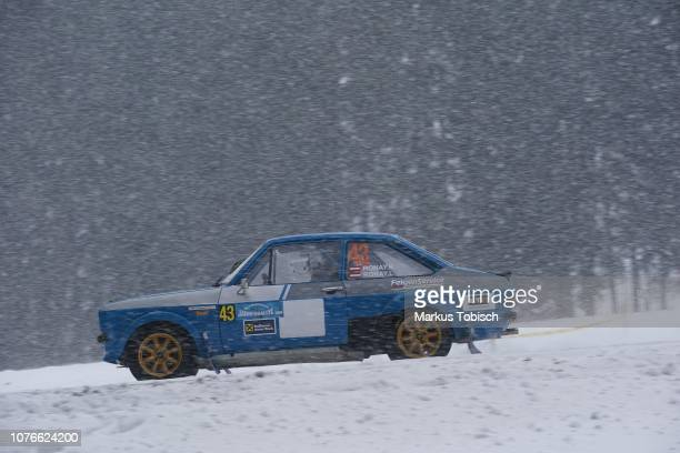 Richard Ronay of Austria and Lucie Ronay of Austria in their Ford Escord RS 1800 during the Jaenner Rallye at Freistadt on January 3 2019 in...