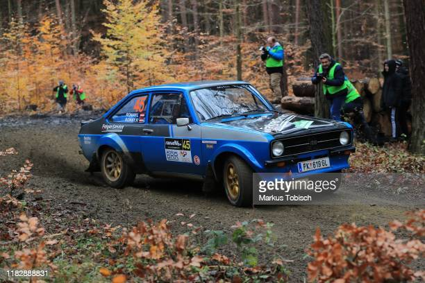 Richard Ronay of Austria and Lucie Ronay of Austria in their Ford Escord RS 1800 during the Waldviertel Rallye at Horn on November 16 2019 in Horn...