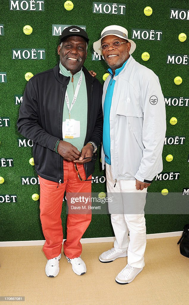 Richard Roundtree (L) and Samuel L. Jackson attend The Moet & Chandon Suite at The Aegon Championships Queens Club finals on June 16, 2013 in London, England.