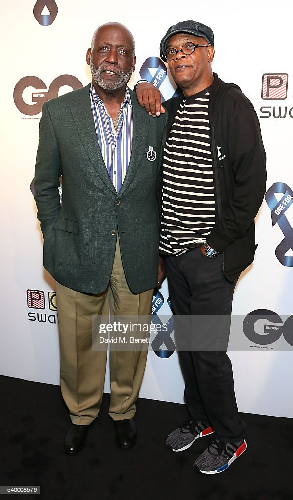 Richard Roundtree and Samuel L. Jackson attends as Samuel L. Jackson and Dylan Jones host a celebrity karaoke evening during London Collections Men SS17 at Abbey Road Studios on June 13, 2016 in London, England.
