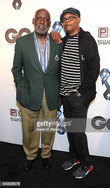 Richard Roundtree and Samuel L. Jackson attends as Samuel L. Jackson and Dylan Jones host a celebrity karaoke evening during London Collections Men...