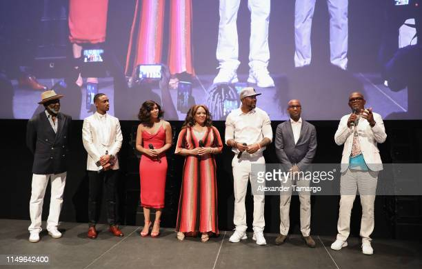 "Richard Roundtree, Jessie T. Usher, Alexandra Shipp, Luna Lauren Velez, Cliff ""Method Man"" Smith, Tim Story and Samuel L. Jackson attend the ""Shaft""..."