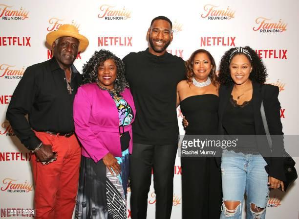 "Richard Roundtree, Loretta Devine, Anthony Alabi, Executive Producer Meg DeLoatch and Tia Mowry attend the Netflix ""Family Reunion"" LA Screening at..."