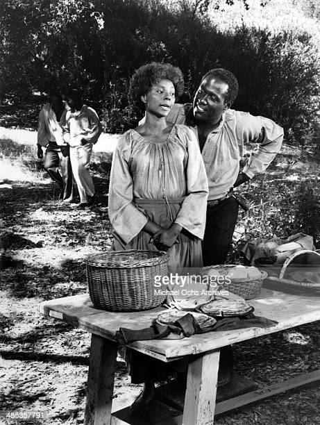 Richard Roundtree plays a slave who brings love fleetingly into the life of Leslie Uggams in the 6th segment of the TV miniseries Roots which aired...