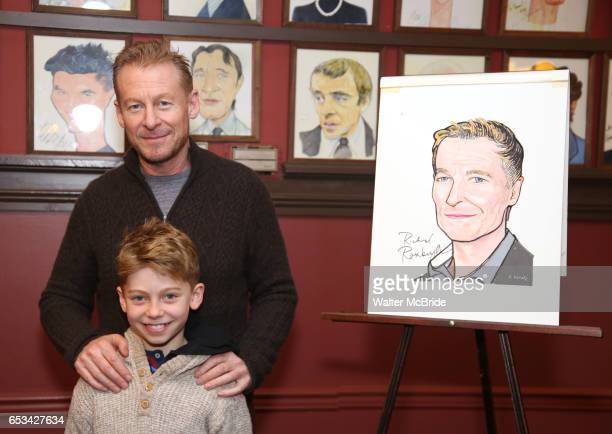 Richard Roxburgh and son Raphael Roxburgh attend the Cate Blanchett and Richard Roxburgh Caricature Unveiling at Sardi's on March 14, 2017 in New...