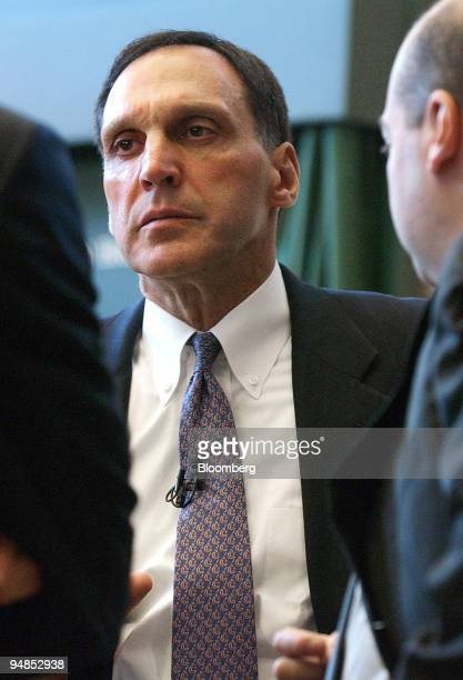 Richard S Fuld Jr chairman and chief executive of Lehman Brothers listens to a question at the opening of the new Lehman Brothers office in Canary...
