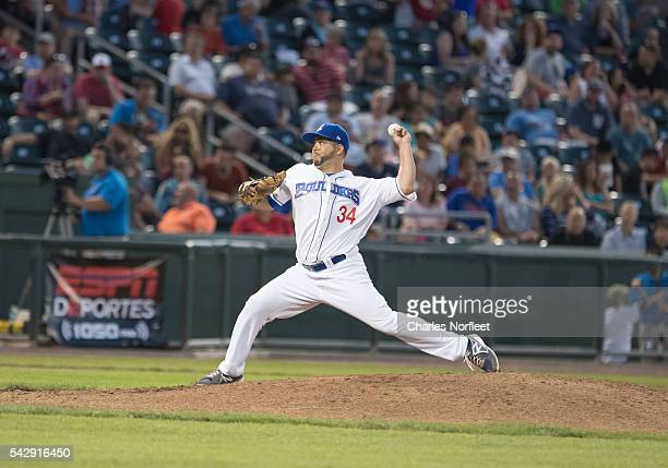 Richard Salazar of the Rockland Boulders delivers a pitch against the Cuban National Team at Palisades Credit Union Park on June 24, 2016 in Pomona,...