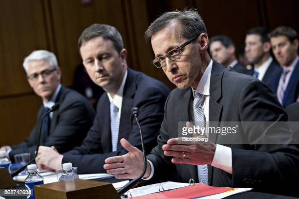 Richard Salgado director of law enforcement and information security with Google Inc right speaks as Sean Edgett acting general counsel with Twitter...