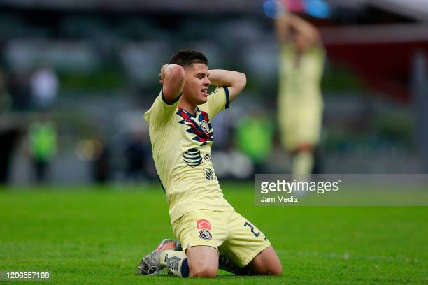 Richard Sanchez of America reacts during the 6th round match between America and Atlas as part of the Torneo Clausura 2020 Liga MX at Azteca Stadium...