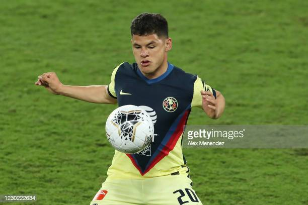 Richard Sanchez of Club America controls the ball during the CONCACAF Champions League semifinal game against Los Angeles FC at Exploria Stadium on...