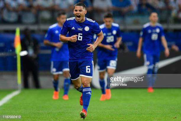 Richard Sanchez of Paraguay celebrates after scoring the opening goal during the Copa America Brazil 2019 group B match between Argentina and...
