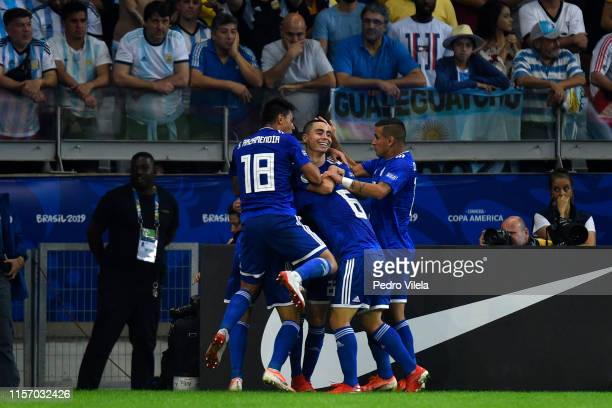 Richard Sanchez of Paraguay celebrates after scoring the opening goal with teammates during the Copa America Brazil 2019 group B match between...