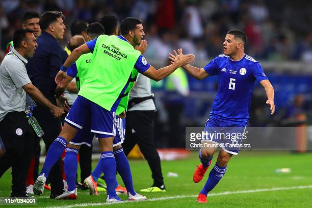 Richard Sanchez of Paraguay celebrates scoring the opening goal during the Copa America Brazil 2019 group B match between Argentina and Paraguay at...