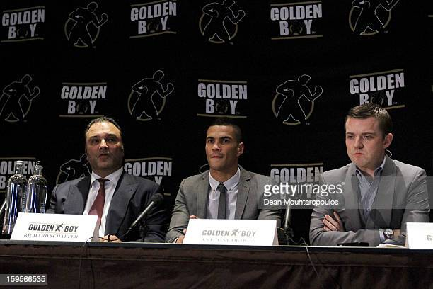 Richard Schaefer CEO of Golden Boy Promotions Boxer Anthony Ogogo and his Manager Dean Baker speak to the media at the Golden Boy Promotions Press...