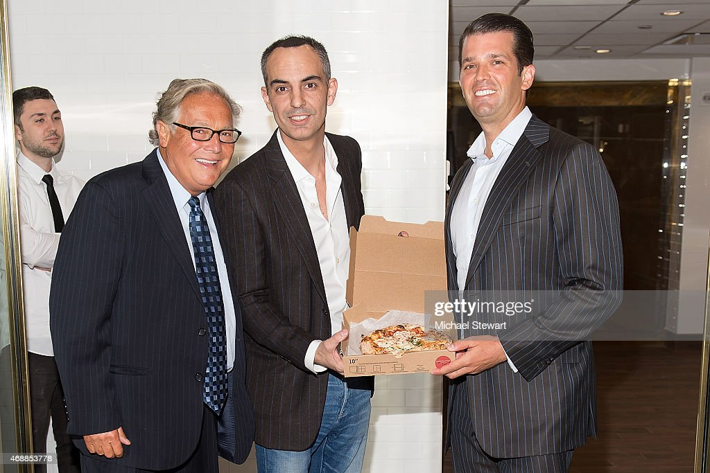 Richard Schaeffer, Neopolitan Express founder Max Crespo and Donald Trump Jr. attend the Neopolitan Express Wall Street Grand Opening at The Trump Building on April 7, 2015 in New York City.