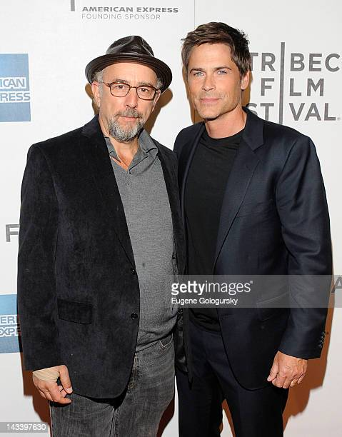 Richard Schiff and Rob Lowe attend the premiere of 'Knife Fight' during the 2012 Tribeca Film Festival at BMCC Tribeca PAC on April 25 2012 in New...