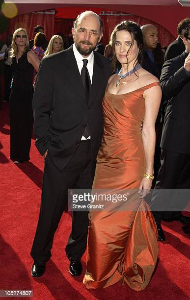 Richard Schiff and wife Sheila Kelley during The 55th Annual Primetime Emmy Awards Arrivals at The Shrine Theater in Los Angeles California United...