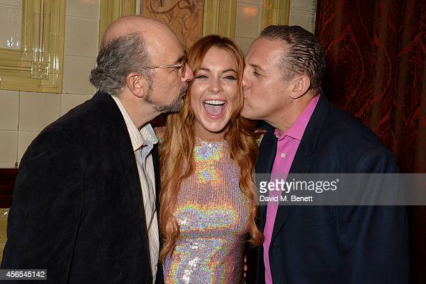 Richard Schiff Lindsay Lohan and Nigel Lindsay attends an after party following the press night performance of 'Speed The Plow' at the National...