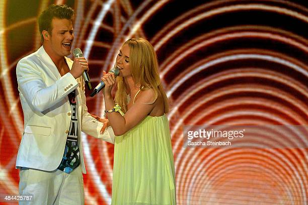 Richard Schloegl and Aneta Sablik perform during the rehearsal of the 3rd 'Deutschland sucht den Superstar' show at Coloneum on April 12 2014 in...