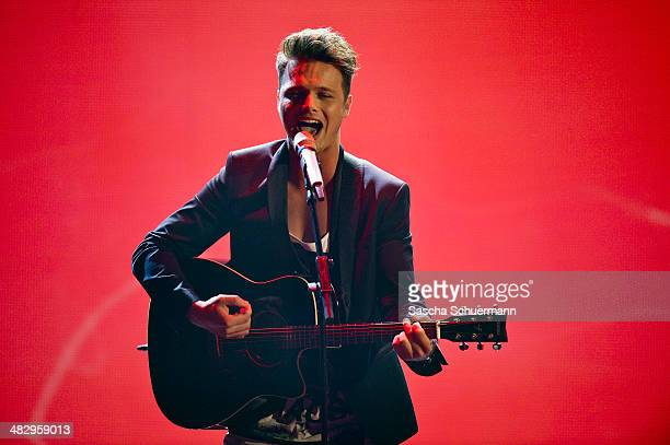 Richard Schloegl performs at the rehearsal for the 2nd 'Deutschland sucht den Superstar' show at Coloneum on April 5 2014 in Cologne Germany