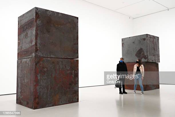 Richard Serra's 'Equal' is on display during a press preview of MoMA's first ever Fall Reveal at Museum of Modern Art on November 13, 2020 in New...