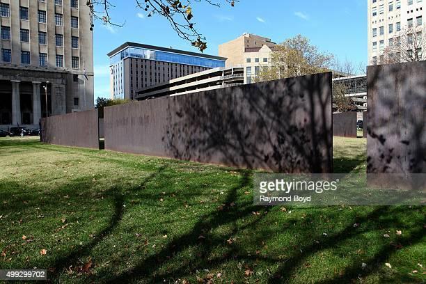 Richard Serra's 'TWAIN 1982' sculpture sits outside Citygarden in St. Louis, Missouri on November 15, 2015.