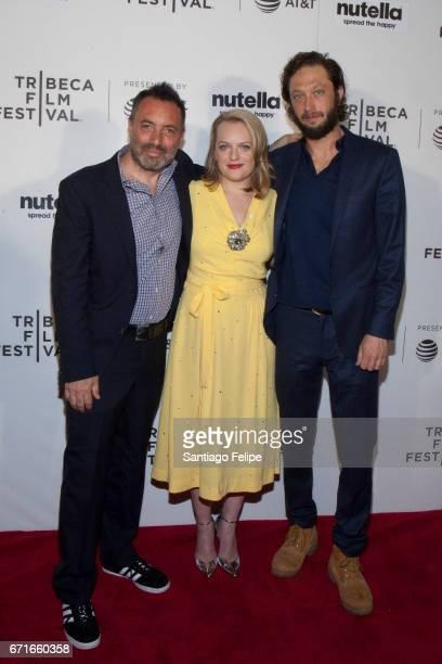 Richard Shepard, Elisabeth Moss and Ebon Moss-Bachrach attend 2017 Tribeca Film Festival at Regal Battery Park Cinemas on April 22, 2017 in New York...