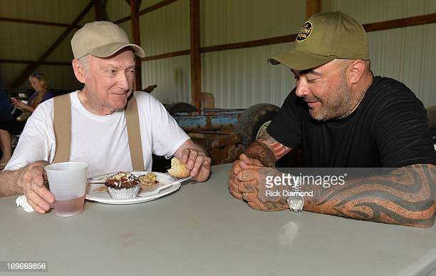"""Richard Sherlock and Aaron Lewis during the shooting of Aaron Lewis' Video Shoot for the New Single """"Granddaddy's Gun"""" from his CD """"The Road"""" Video..."""