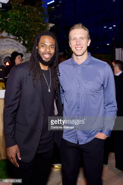 Richard Sherman and Nick Foles attend DIRECTV CELEBRATES 25th Season of NFL SUNDAY TICKET at Nomad Hotel Los Angeles on July 17 2018 in Los Angeles...