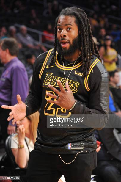 Richard Sherman attends a basketball game between the Los Angeles Lakers and the Houston Rockets at Staples Center on April 10 2018 in Los Angeles...