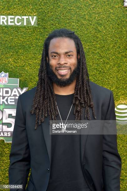 Richard Sherman attends DIRECTV CELEBRATES 25th Season of NFL SUNDAY TICKET at Nomad Hotel Los Angeles on July 17 2018 in Los Angeles California