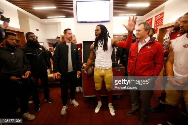 Richard Sherman of the San Francisco 49ers addresses the team in the locker room following the game against the Seattle Seahawks at Levi's Stadium on...