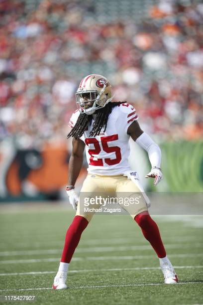 Richard Sherman of the San Francisco 49ers defends during the game against the Cincinnati Bengals at Paul Brown Stadium on September 15, 2019 in...