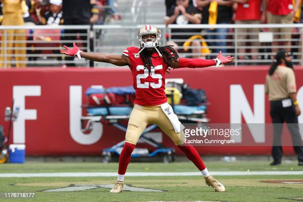 Richard Sherman of the San Francisco 49ers enters the field before the game against the Pittsburgh Steelers at Levi's Stadium on September 22 2019 in...