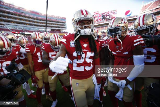 Richard Sherman of the San Francisco 49ers fires up the team on the field prior to the game against the Cleveland Browns at Levi's Stadium on October...