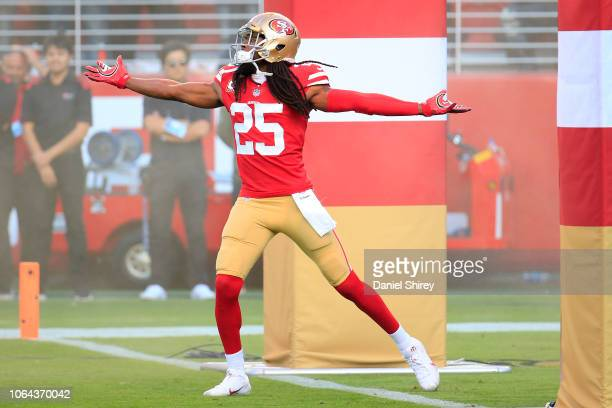 Richard Sherman of the San Francisco 49ers is introduced prior to the game against the Oakland Raiders at Levi's Stadium on November 1 2018 in Santa...