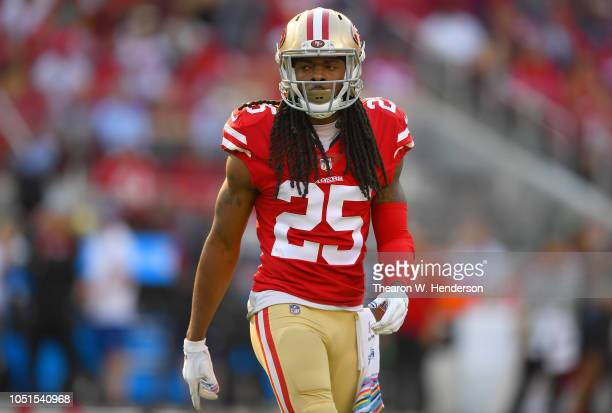 Richard Sherman of the San Francisco 49ers looks on against the Arizona Cardinals during the fourth quarter of an NFL football game at Levi's Stadium...