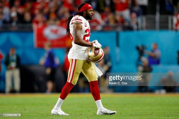 Richard Sherman of the San Francisco 49ers looks on during the fourth quarter against the Kansas City Chiefs in Super Bowl LIV at Hard Rock Stadium...