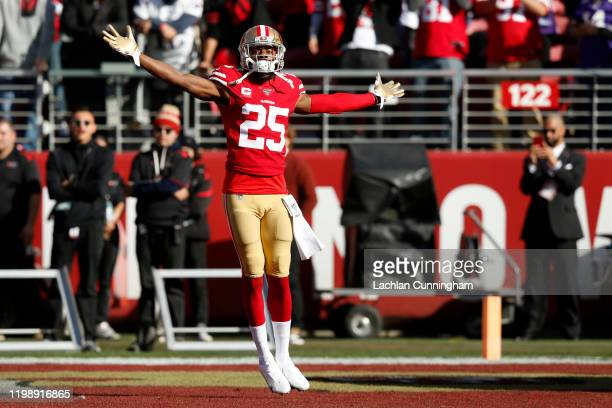 Richard Sherman of the San Francisco 49ers runs out of the tunnel prior to the NFC Divisional Round Playoff game against the Minnesota Vikings at...