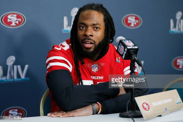 Richard Sherman of the San Francisco 49ers speaks to the media during the San Francisco 49ers media availability prior to Super Bowl LIV at the James...