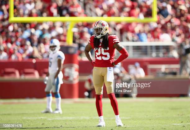 Richard Sherman of the San Francisco 49ers stands on the field during their game against the Detroit Lions at Levi's Stadium on September 16 2018 in...
