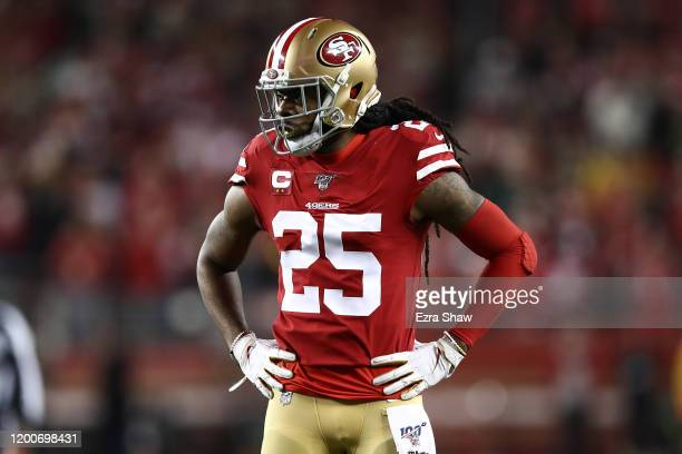 Richard Sherman of the San Francisco 49ers stands on the field against the Green Bay Packers during the NFC Championship game at Levi's Stadium on...